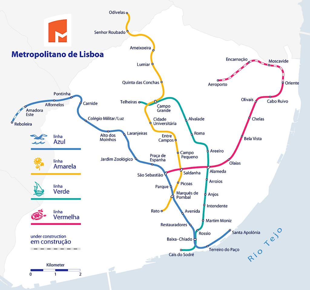 Карта метро Лиссабона