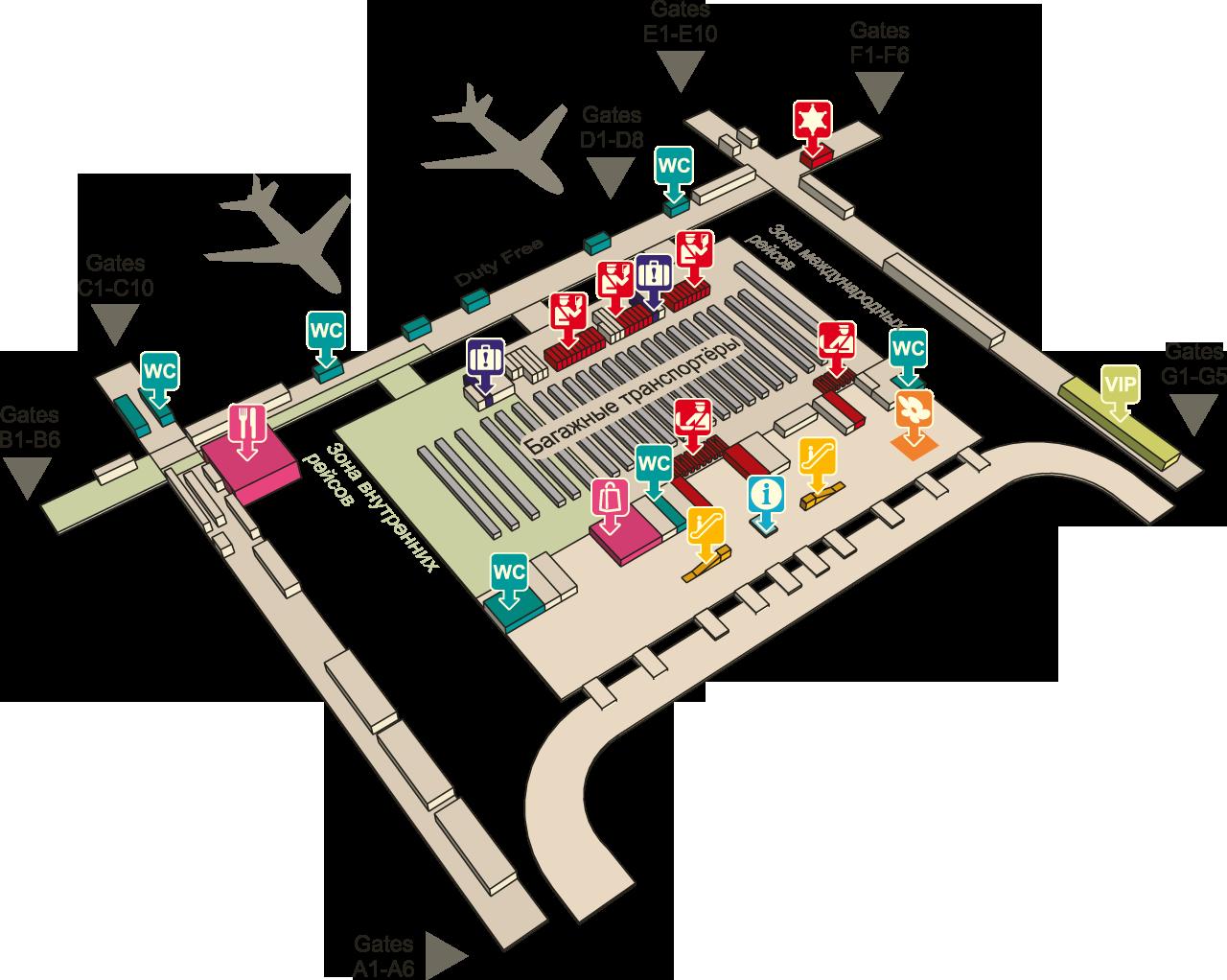 Схема аэропорта Суварнабхуми, Бангкок