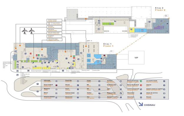 Схема международного аэропорта Кишинэу