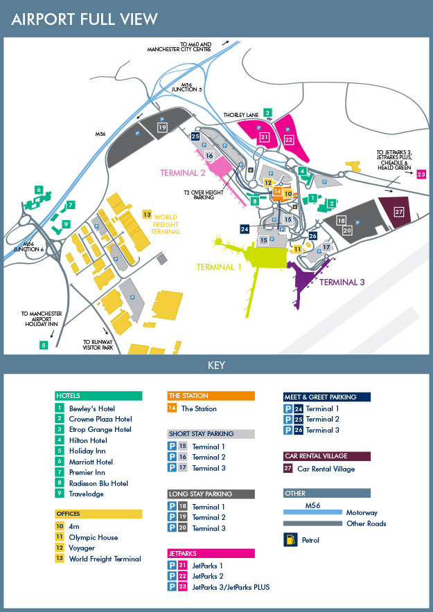 Схема международного аэропорта Манчестера
