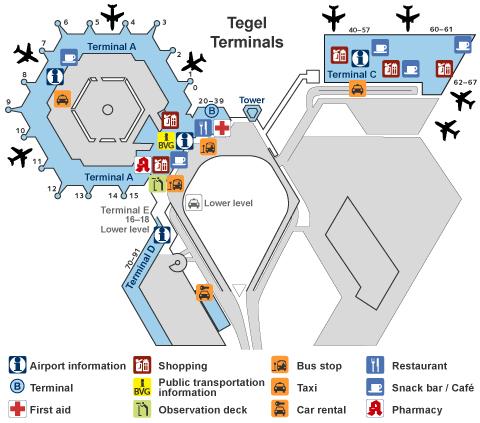 Схема международного аэропорта Тегель