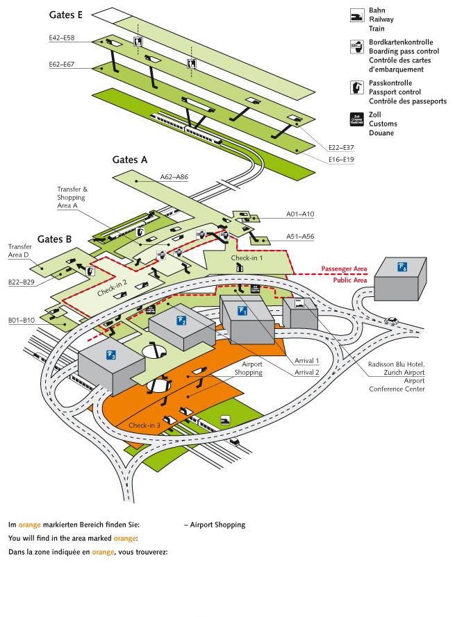 Схема международного аэропорта Цюриха
