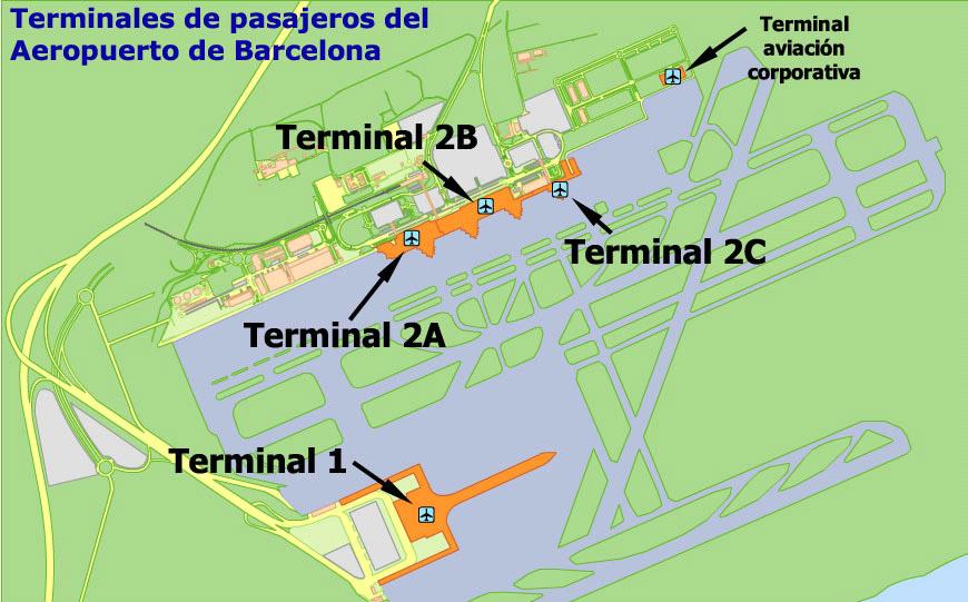 Схема расположения терминалов аэропорта Барселоны