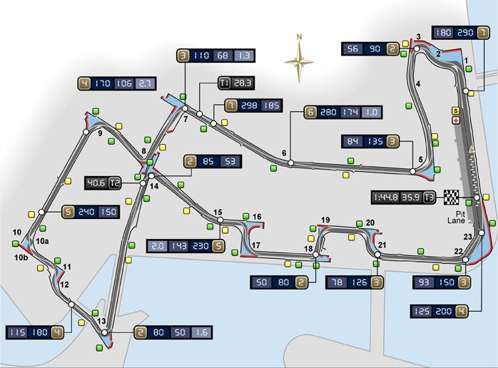 Схема трассы Грна-при Сингапура