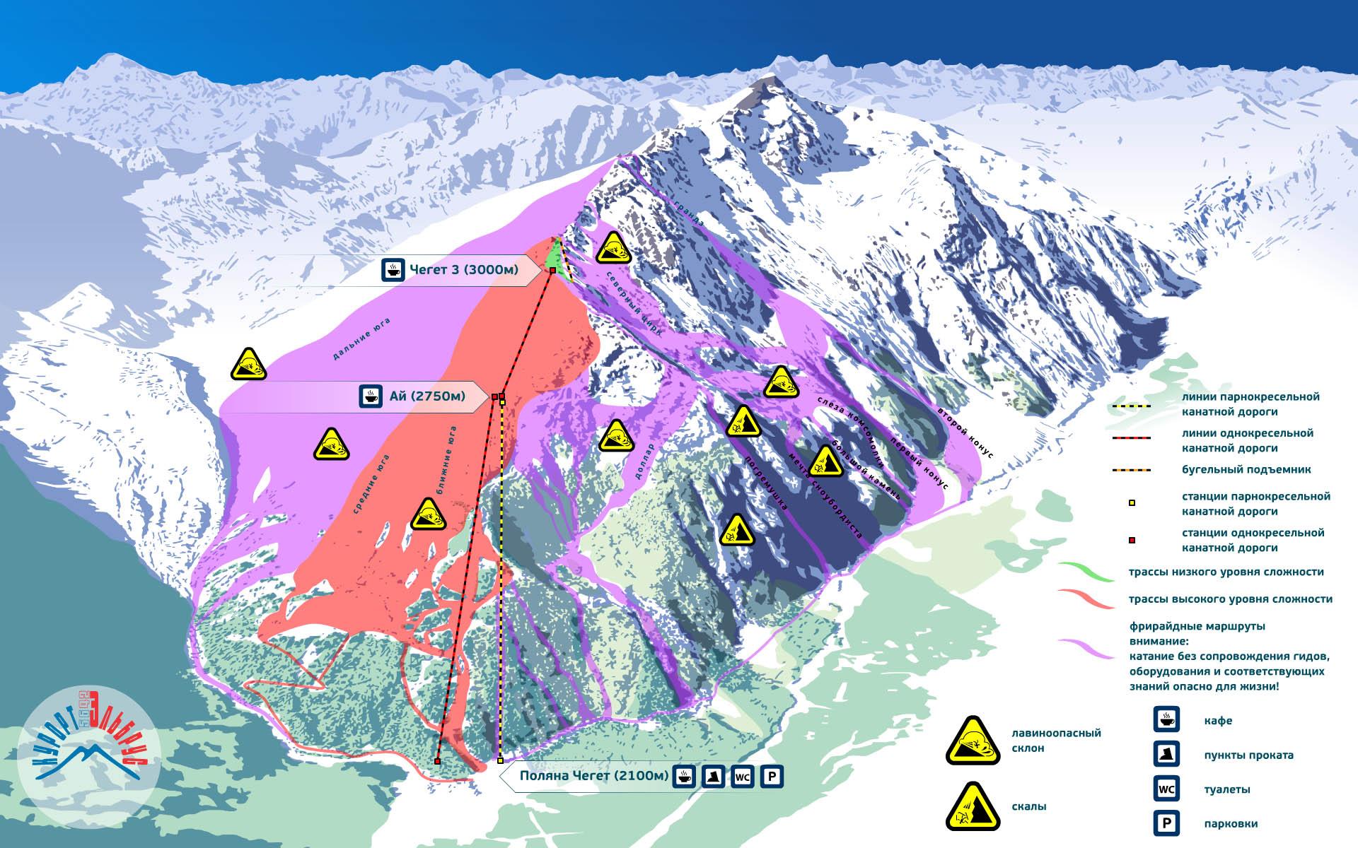 Карта трасс курорта Приэльбрусье