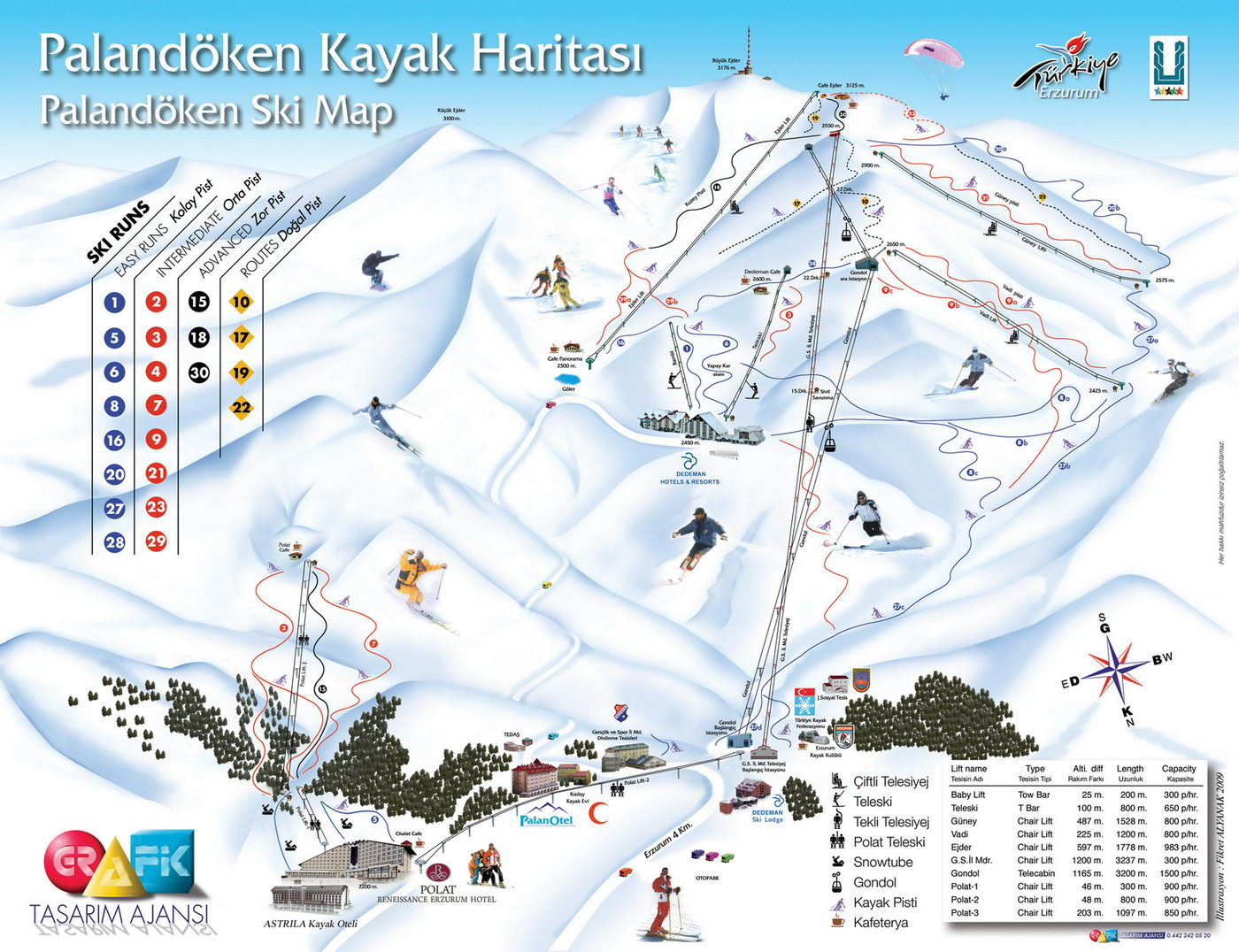 Схема трасс курорта Паландокен