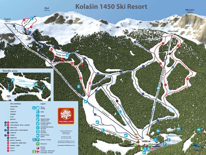 Карта трасс курорта Колашин