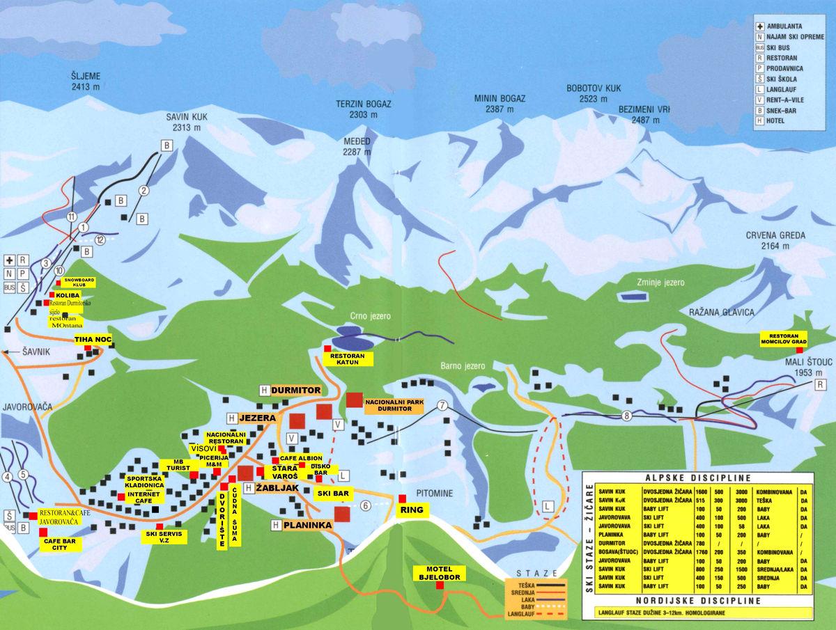 Карта трасс курорта Жабляк