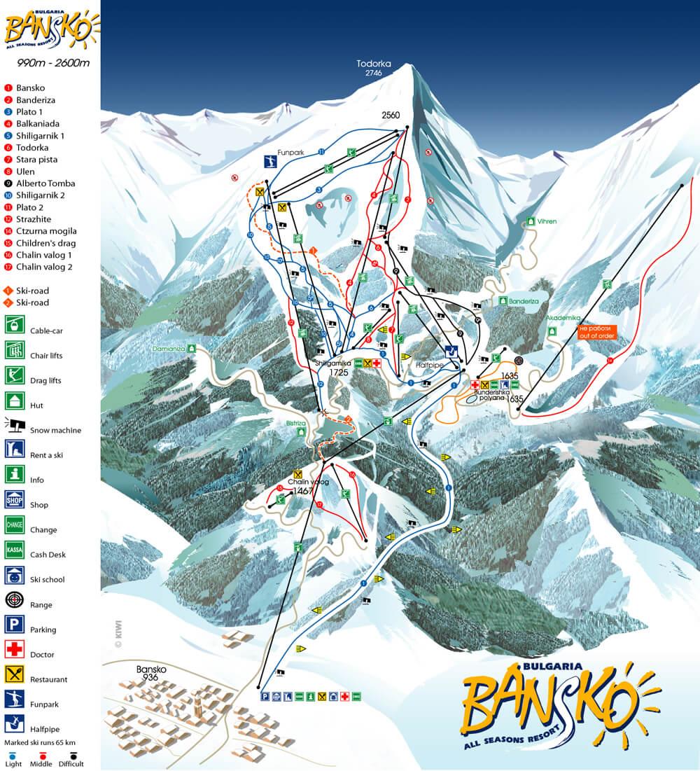 Горнолыжный курорт Банско - карта трасс