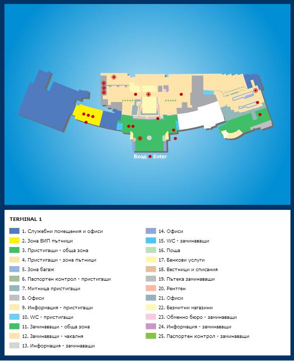 Схема международного аэропорта г. София