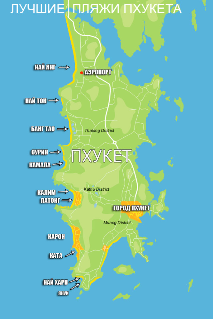 Карта пляжей острова Пхукет