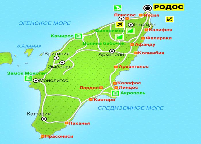 Карта курортов Родоса
