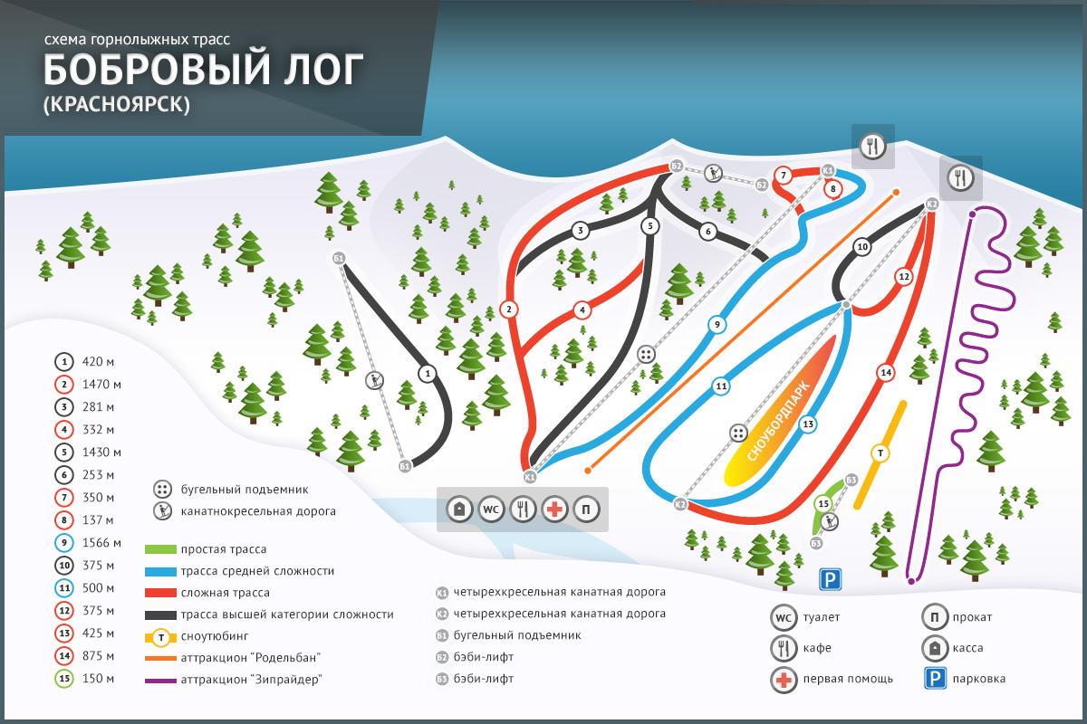 Карта трасс курорта Бобровый Лог