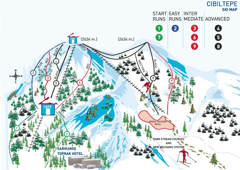 Схема трасс курорта Сарыкамыш