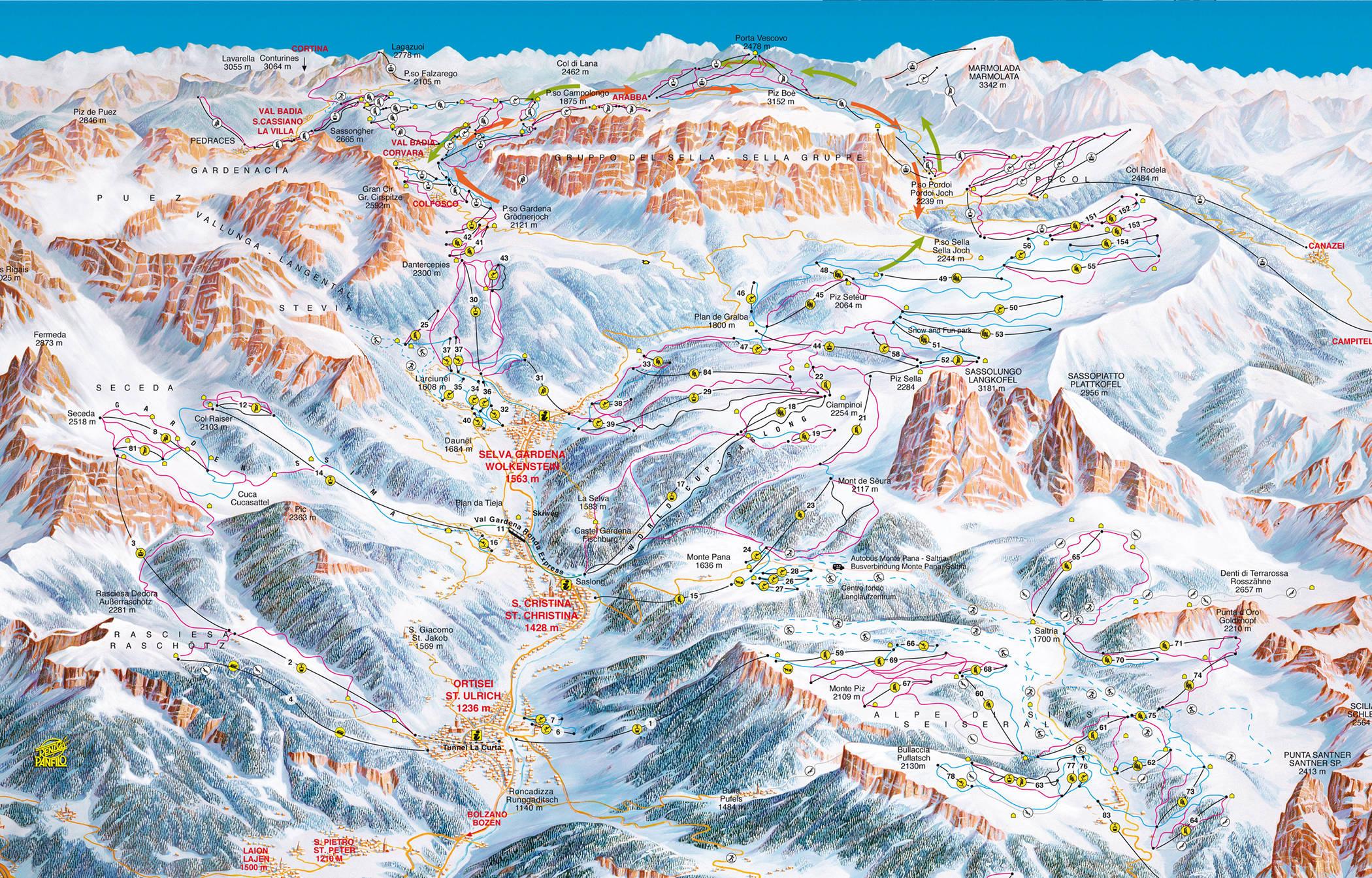Карта трасс Валь Гардена